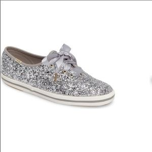 NIB KATE SPADE KEDS SILVER GLITTER TENNIS SHOES